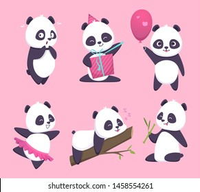 Panda. Bear cute funny animal character in forest vector cartoon collection. Illustration of panda animal, happy emotion smiling