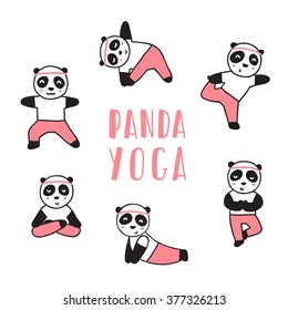 Panda bear doing yoga. Vector cartoon illustration