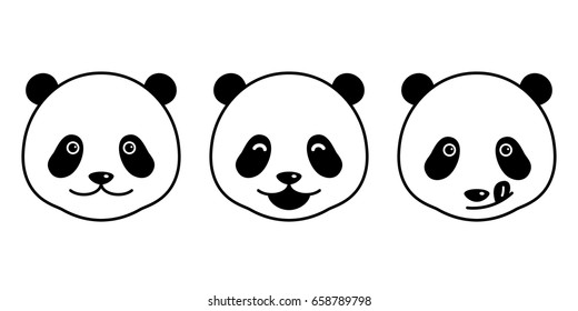 Panda Bear   face doodle vector illustration