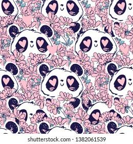 Panda Bear and flowers pattern seamless vector illustration. Print design childish textiles