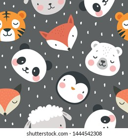 panda bear fox tiger sheep and penguin seamless pattern background, vector illustration, animal cartoon pattern