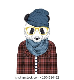 panda bear hipster dressed up in plaid shirt beany hat and knitted scarf, furry art illustration, fashion animals