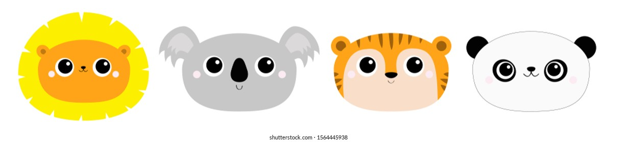 Panda bear Lion Koala Tiger round face head icon set. Kawaii wild animal. Cute cartoon character. Funny baby kids print. Love Greeting card. Flat design. White background Isolated. Vector illustration