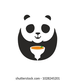 Panda Bear Logo. A Cute panda cartoon mascot holding a soup mug, perfect logo for restaurant company. Vector Illustration