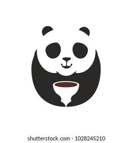 Panda Bear Logo. A Cute panda cartoon mascot holding a coffee mug, perfect logo for coffee shop or restaurant company. Vector Illustration