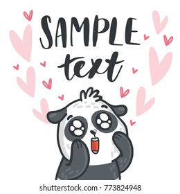 Panda bear madly in love with googly eyes on romantic pink background with hearts and place for your text. Hand drawn illustration in cartoon, doodle style for greeting card, poster, banner