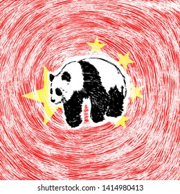 A panda bear over a People Republic of China flag. Hand drawn vector illustration.