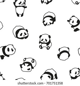 Panda bear pattern seamless vector illustration. Seamless background with animals for clothes, cards, design, web.