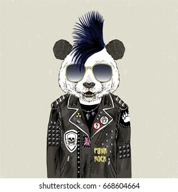 panda bear punk, furry art illustration, fashion animals