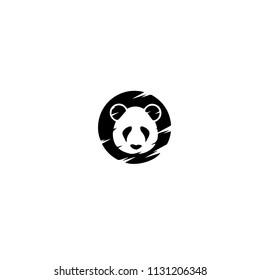 Panda bear silhouette Logo design vector template.