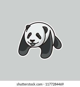 Panda bear silhouette Logo design vector template. Funny Lazy sticker Panda animal Logotype concept icon.