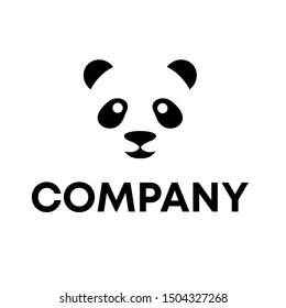 Panda bear silhouette Logo design vector