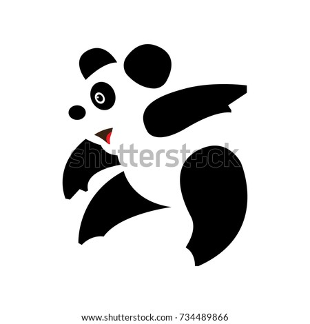 panda bear silhouette logo design vector stock vector royalty free