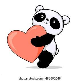 Panda bear, panda vector illustration, Valentine's Day greeting card illustration, panda. heart