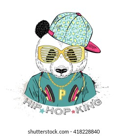 panda boy dressed up in cool city style, hand drawn graphic, hipster animal portrait