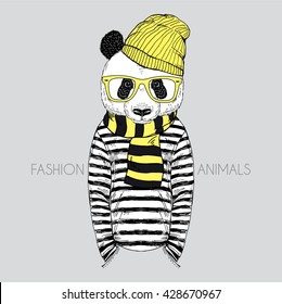 panda boy dressed up in frock, furry art illustration, fashion animals, hipster animals