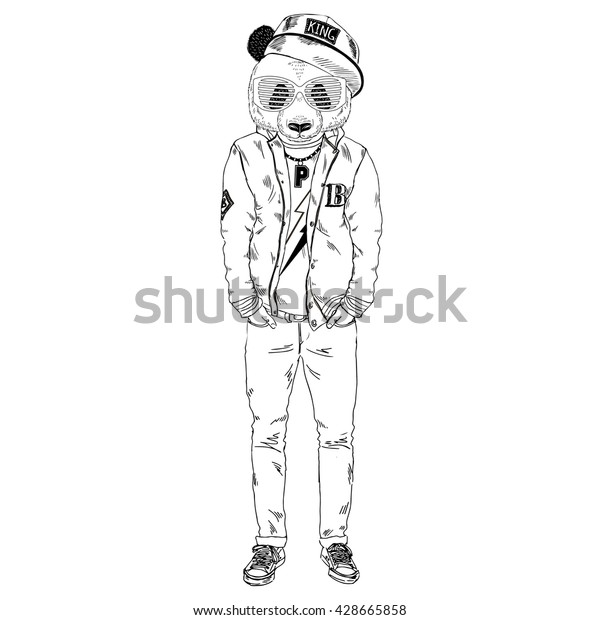 Panda Boy Dressed Swag Varsity Jacket Stock Vector Royalty