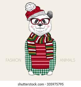 panda boy dressed up in winter style, fashion animal illustration