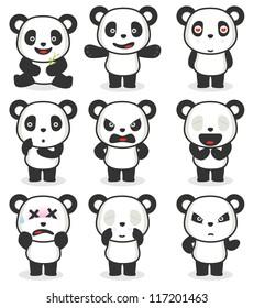 Panda cartoon character in various expression