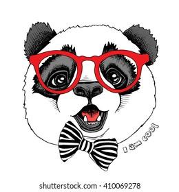6914d9151cf Panda Portrait Glasses Red Santas Hat Stock Vector (Royalty Free ...