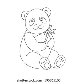 Panda for coloring book.Isolated on white background.Line art design.Vector illustration