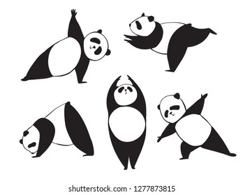 Panda in different joga pose. Black and white vector illustration. Simple bear who does sport exercises