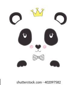 panda embroidery vector design. Children illustration for School books and more.