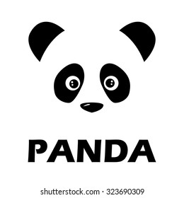 Panda face logo. Illustration of panda logo face vector isolated on white background. Animal bear