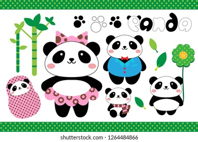 Panda Family on bamboo forest set
