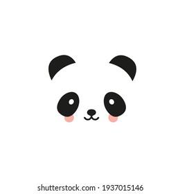 Panda flat icon. Bear panda logo. Black and white.Vector illustration, flat design