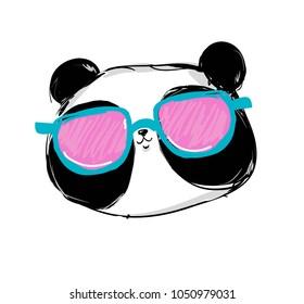 panda with glasses, stylish bear panda illustration, sunglasses trend vector illustration, Cool Bear.