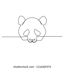 A panda head is drawn by a single black line on a white background. One-line drawing. Continuous line. Vector Eps10
