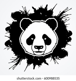 Panda head face front view designed on splatter ink background graphic vector.