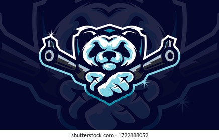 Panda head holding two gun, tactical team, Airsoft gun or Paintball club logo. Design element for company logo, label, emblem, apparel or other merchandise. Scalable and editable Vector illustration