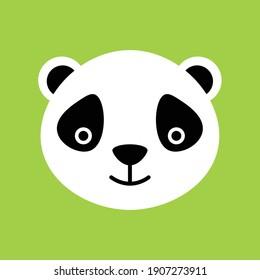 Panda head icon. Panda head avatar on the green background.