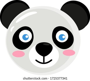 Panda head, illustration, vector on white background