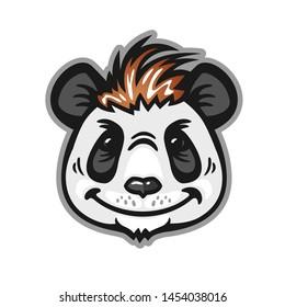 Panda head with red hair, anthropomorphic panda