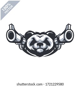 Panda head with two gun, tactical team, Airsoft gun or Paintball club logo. Design element for company logo, label, emblem, apparel or other merchandise. Scalable and editable Vector illustration