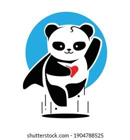 Panda hero mascot sport symbol design. Wild panda mascot emblem design for sports team. Vector illustration EPS.8 EPS.10