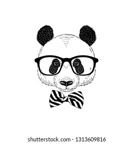 dda0b9cc9a2c Panda hipster portrait in glasses and classy stripy tie bow. Hand drawn  vector illustration