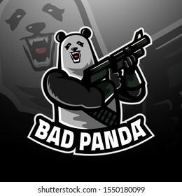 Panda holding the big gun, logo gaming esport