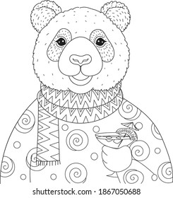 Panda holding cocktail glass on the trees for coloring book, coloring page. Vector illustration