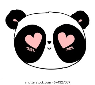 Panda illustration vector, cute panda head isolated on white background