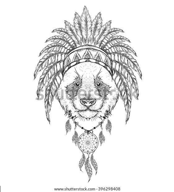 Panda Indian Roach Indian Feather Headdress Stock Vector (Royalty