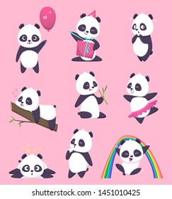 Panda kids. Little funny bear sweet animals in action poses vector cartoon characters. Animal panda happy, emotion and pose, eat and act illustration