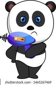 Panda with laser gun, illustration, vector on white background.