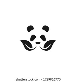 panda leaf logo icon design with simple line art style
