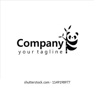 Panda logo icon with trees company and bussiness agency spesialy chenese