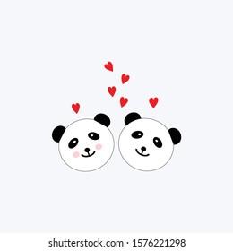 panda love red hearts vector