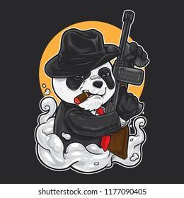 Panda in mafia outfit holding a machine gun.